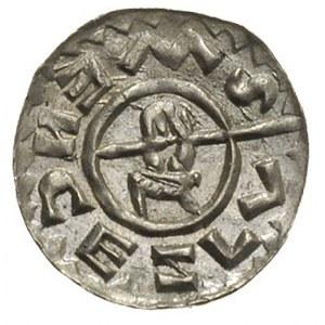 denar książęcy ok. 1061-1086, Aw: Głowa księcia w prawo...