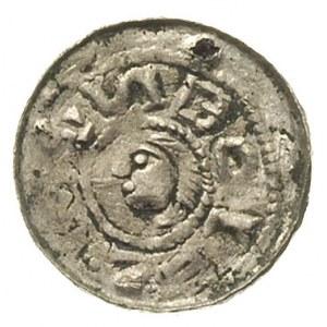 denar książęcy, Aw: Głowa w lewo w obwódce i napis, Rw:...