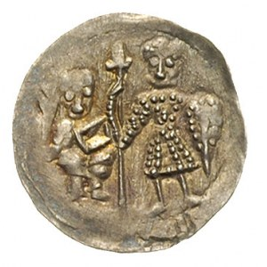 denar, Aw: Biskup z księgą i rycerz z włócznią i tarczą...