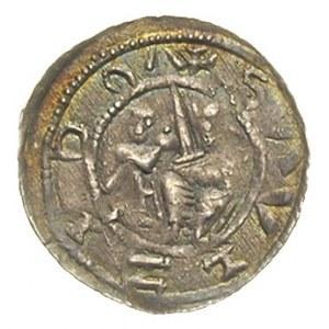 denar, Aw: Książę z mieczem na tronie, obok giermek, wo...
