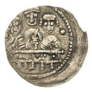 denar, Aw: Popiersie księcia z mieczem z lewej odwrócon...