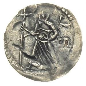 denar ok. 1173-1190, Aw: Biskup z krzyżem, obok litery ...