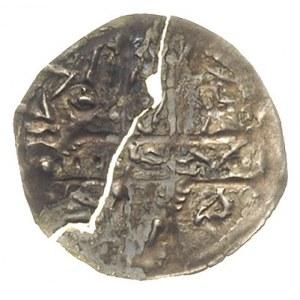 denar ok. 1185-1201, Aw: Krzyż dwunitkowy, w polach lit...