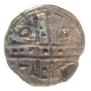 denar jednostronny ok. 1185-1201; Krzyż dwunitkowy, w p...