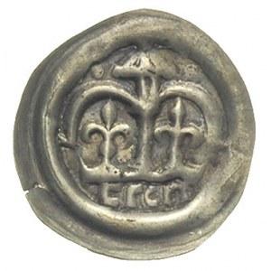 brakteat hebrajski; Podwójna arkada, na niej wieża, pod...