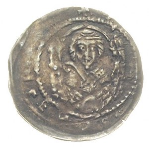 denar, Aw: Książę na tronie w prawo z uniesioną ręką, R...