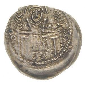 denar ok. 1254, Aw: Św. Stanisław za stołem między dwie...