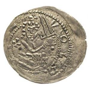 denar ok. 1239-1257, Aw: Przyklękający rycerz z mieczem...