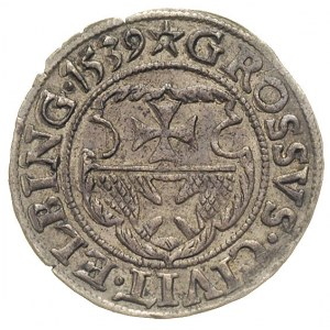 grosz 1539, Elbląg, ładny egzemplarz, ciemna patyna