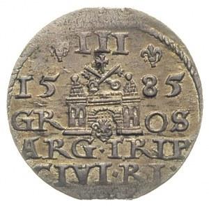 trojak 1585, Ryga, odmiana z dużą głową króla, Iger R.8...