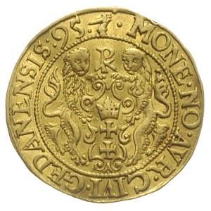 dukat 1595, Gdańsk, dukat 1595, Gdańsk, Aw: Popiersie i...