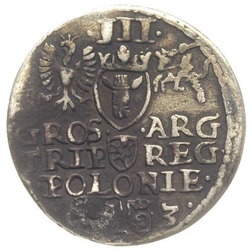 trojak 1593, Olkusz, znaki mennicze słoneczko i dzbanek...