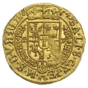 dukat 1649, Kraków, Aw; Król w całej postaci w stroju k...