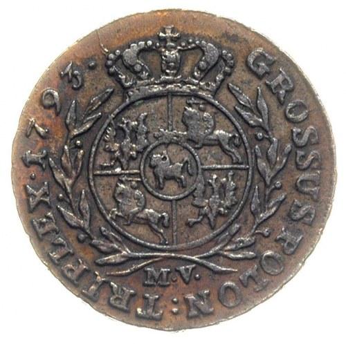 trojak 1793, Warszawa, Iger Wa.93.1.a, Plage 289, na aw...