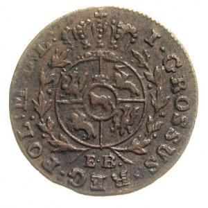 grosz 1791, Warszawa, litery E B, Plage 179, patyna