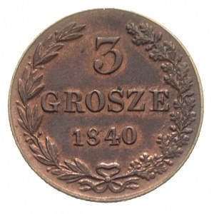 3 grosze 1840, Warszawa, odmiana bez kropki po dacie, I...