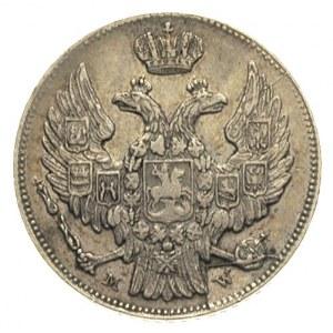 15 kopiejek = 1 złoty 1836, Warszawa, 9 piór w ogonie o...