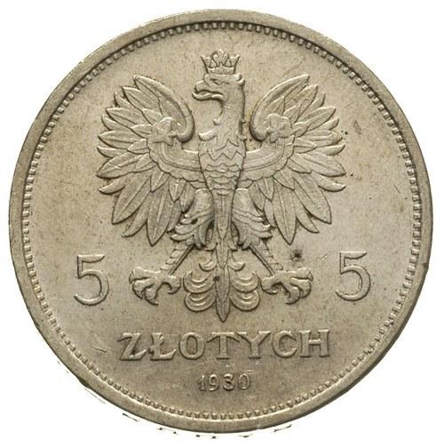 5 złotych 1930, Warszawa, Sztandar, Parchimowicz 115.b,...