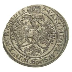 XV krajcarów 1694, Wrocław, FuS 602, bardzo ładne, paty...