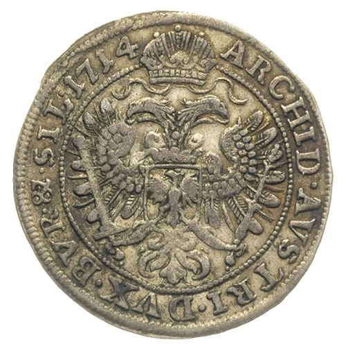 VI krajcarów 1714, Wrocław,  FuS 842, patyna