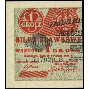 1 grosz 28.04.1924, seria AC, numeracja sześciocyfrowa ...