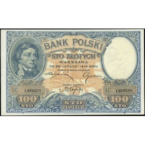 100 złotych 28.02.1919, seria SC, Miłczak 53, Lucow 588...