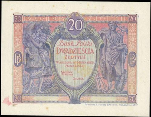 jednostronny próbny druk banknotu 20 złotych emisji 1.0...