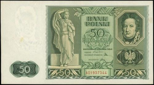 50 złotych 11.11.1936, seria AD 1957544, Miłczak 77a, L...