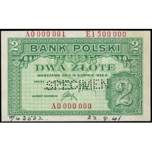 2 złote 15.08.1939, WZÓR, wielokrotna numeracja: A 0000...