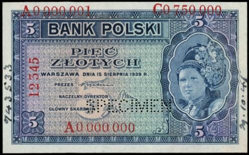 5 złotych 15.08.1939, WZÓR, wielokrotna numeracja: A 00...