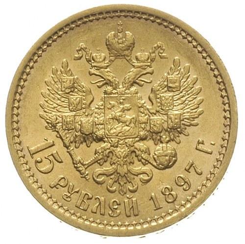 15 rubli 1897 (АГ), Petersburg, złoto 12.88 g, wybite s...