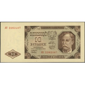 10 złotych 1.07.1948, seria AY, Miłczak 136b, Lucow 125...