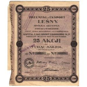 Przemysł i Eksport Leśny S.A., 25 akcji po 1.000 marek ...