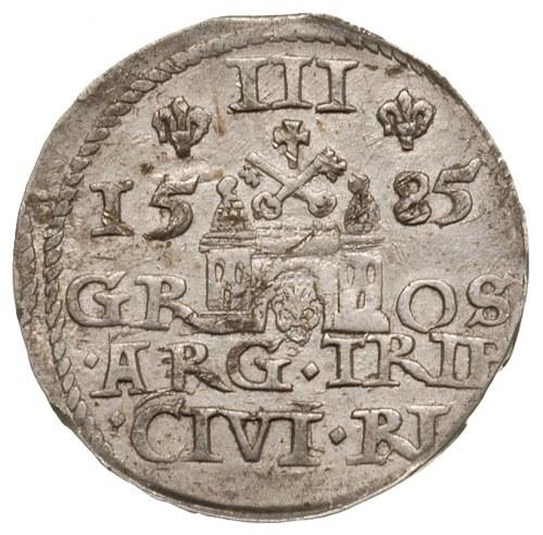 trojak 1585, Ryga, Iger R.85.2.b (R), Gerbaszewski 50