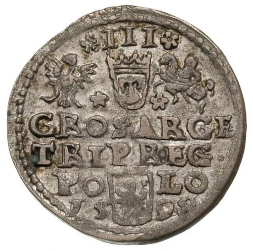 trojak koronny anomalny, 1598, srebro dość wysokiej pró...