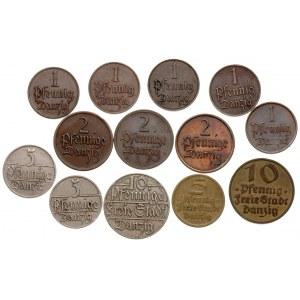 zestaw: komplet drobnych monet gdańskich 10 fenigów 192...