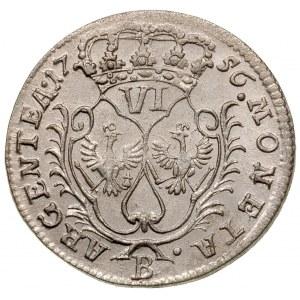 6 krajcarów 1756 B, Wrocław, Olding 300, F.u.S. 1042, p...