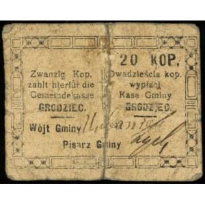 Grodziec, Kasa Gminy, bon na 20 kopiejek (1914-1916), P...