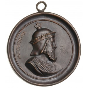 Mieszko I -medalion z warszawskiej fabryki Karola Minte...