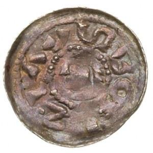 denar, okres książęcy 1070-1076, Aw: Głowa w lewo w obw...