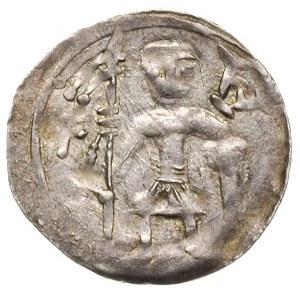 denar z lat 1146-1157, Aw: Rycerz stojący na wprost z p...
