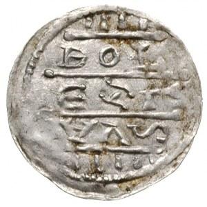 denar, po 1157, Aw: Cesarz na tronie, w koronie, z glob...