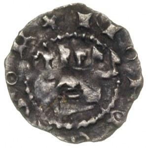 denar, ok. 1325-1333. Av. Hełm z pióropuszem z orlego s...