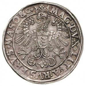 talar 1580, Olkusz, Aw: Półpostać króla w prowo i napis...