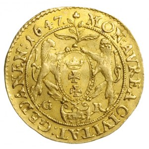 dukat 1647, Gdańsk, Aw: Popiersie króla w prawo i napis...