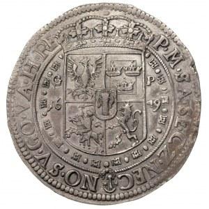 talar 1649, Kraków, Aw: Półpostać króla i napis wokoło ...