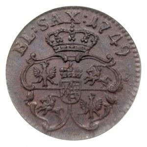 szeląg 1749, Gubin, Aw: Popiersie króla w prawo i napis...