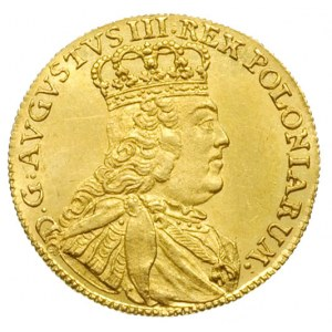 dukat 1753, Lipsk, Aw: Popiersie króla w prawo i napis ...