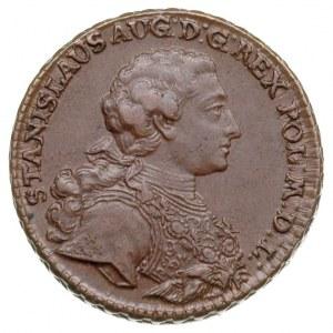trojak 1765, Kraków, Aw: Popiersie króla w zbroi w praw...