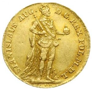 dukat 1766, Warszawa, Aw: Postać króla w stroju koronac...